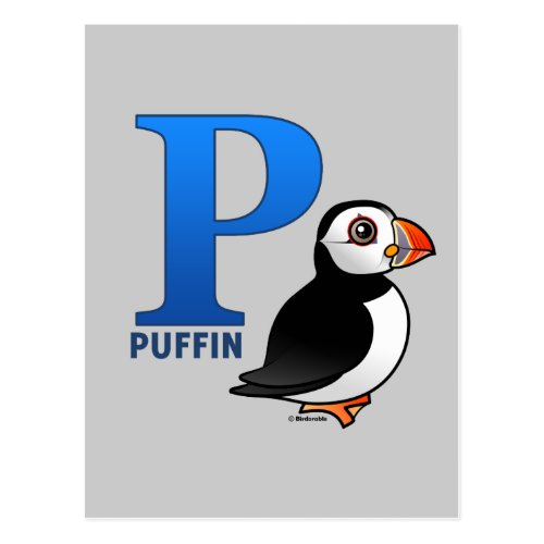 P is for Puffin Postcard