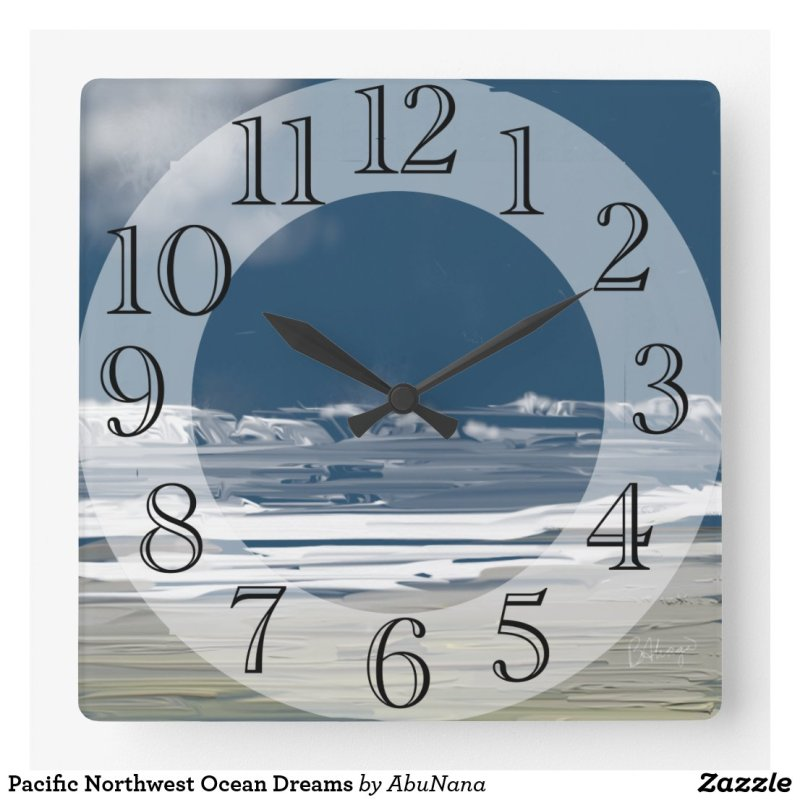 Pacific Northwest Ocean Dreams Square Wall Clock