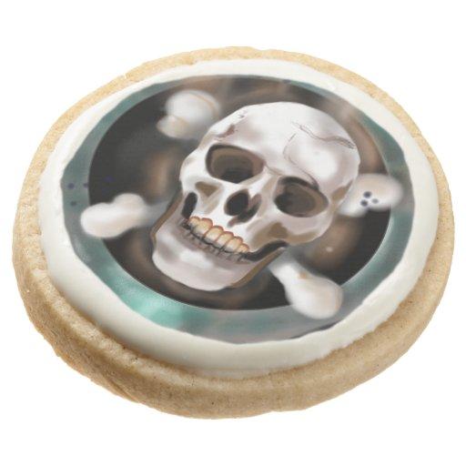 Pack of 4 Skull & Crossbones Hardtack Biscuits Round Shortbread Cookie