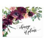 Painted Floral Change of Plans Postponed Wedding Postcard