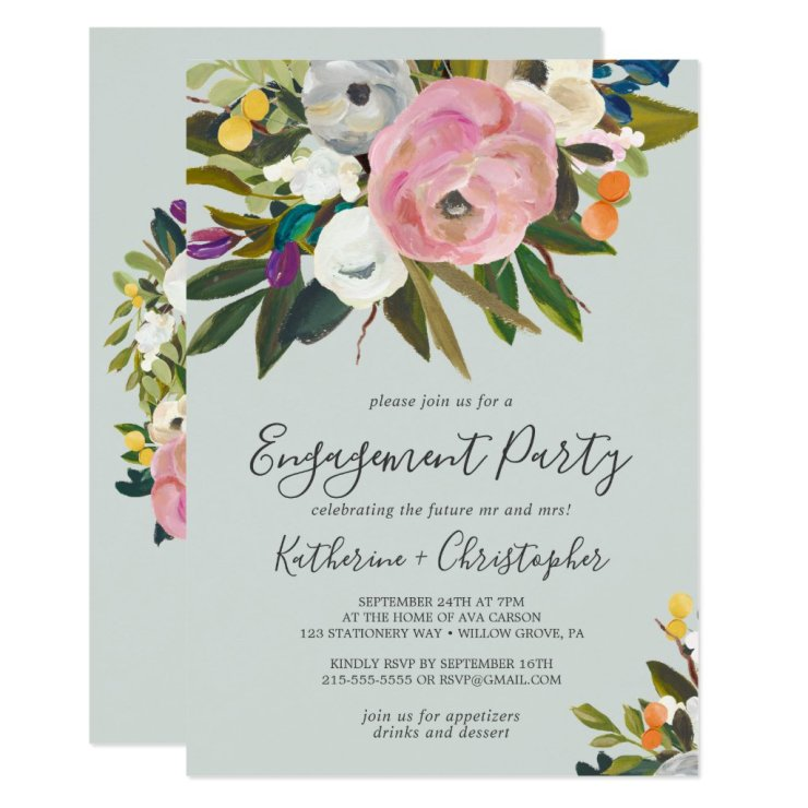 Painted Floral Engagement Party Invitation