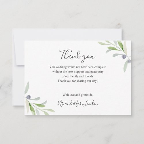 Painted Olive and leaves green Wedding thank you