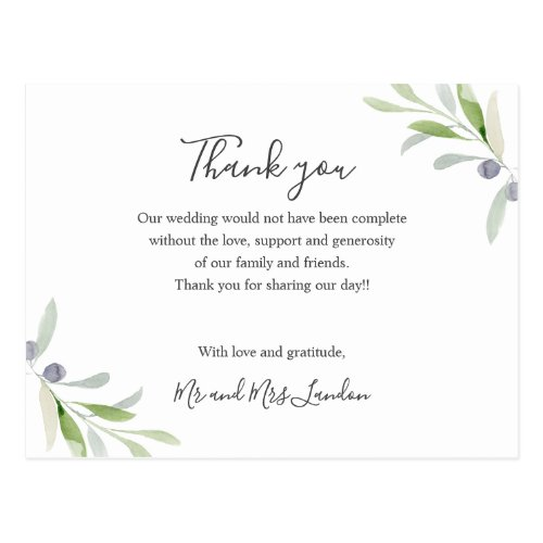 Painted Olive and leaves green Wedding thank you Postcard