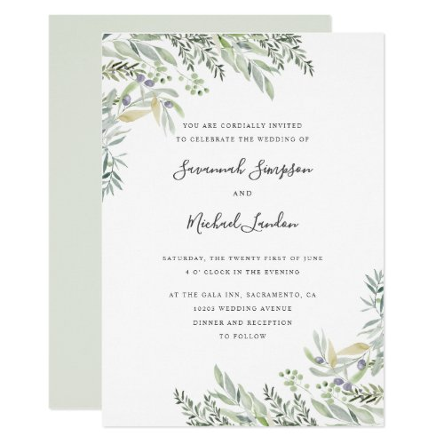 Painted Olive and leaves watercolor wedding Invitation