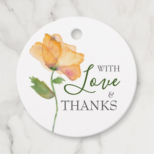 Painted Orange Watercolor Flowers Gift Tags