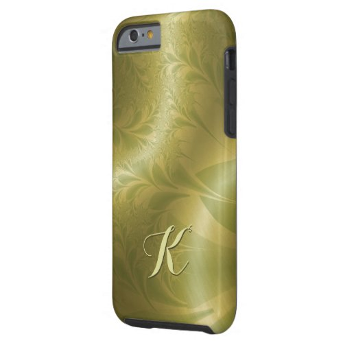 Paisley Gold and Green with Initial Tough iPhone 6 Case