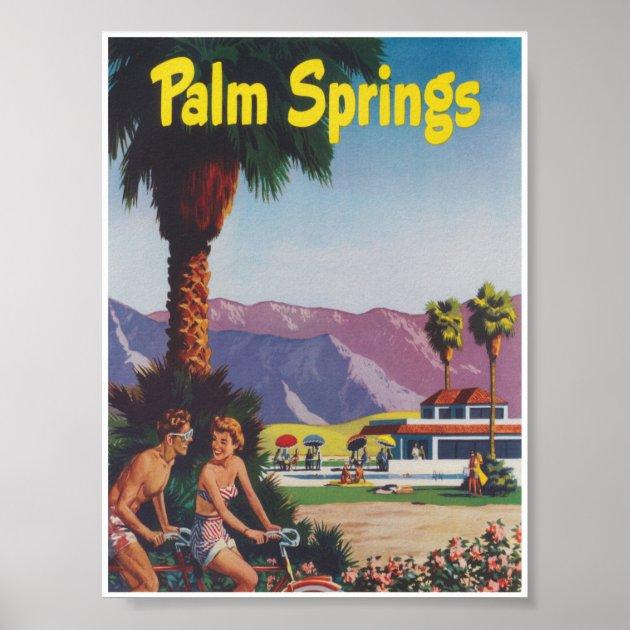 palm springs california retro vintage travel poster zazzle com