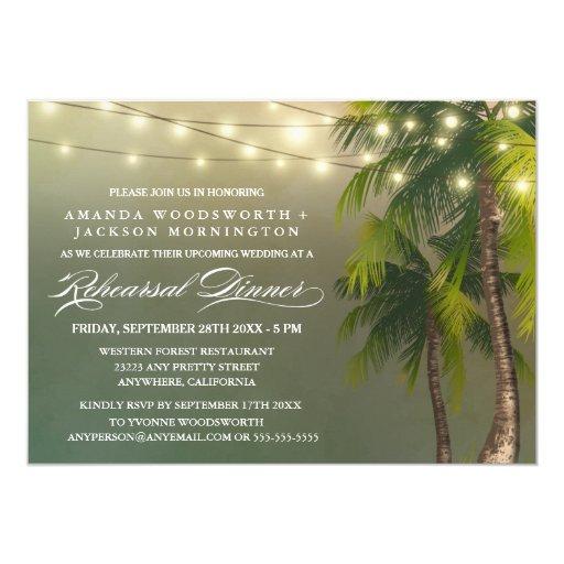 Palm Tree Tropical Rehearsal Dinner Invitations