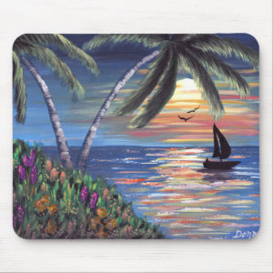 Palm Trees Sunset Ocean Painting Mouse Pad