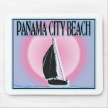 Panama City Beach Airbrushed Look Boat Sunset mousepads