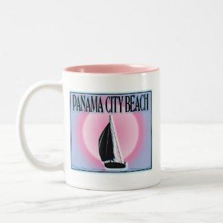Panama City Beach Airbrushed Look Boat Sunset Coffee Mugs