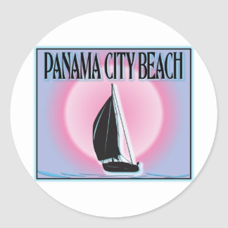 Panama City Beach Airbrushed Look Boat Sunset Sticker