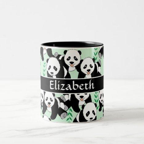 Panda Bears Graphic Pattern Personalize Two-Tone Coffee Mug