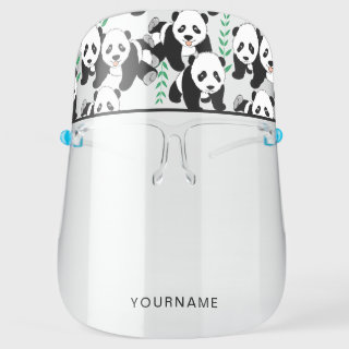 Panda Bears Graphic Pattern to Personalize Face Shield