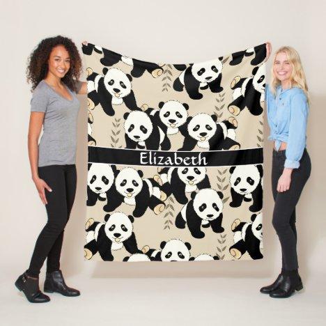 Panda Bears Graphic Personalize Larger Fleece Blanket