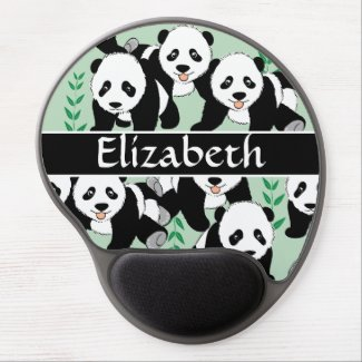 Panda Bears Graphic to Personalize Gel Mouse Pad