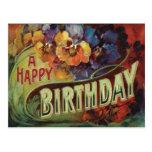 ❤️ Sweet Vintage Pansy Flowers Floral Birthday Postcard