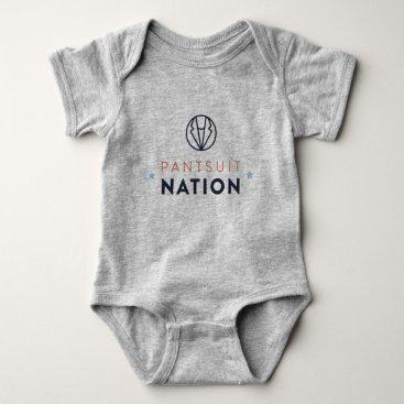 Pantsuit Nation Baby Romper, Heather Gray Baby Bodysuit