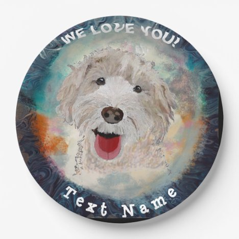 Paper Plates Cute Labradoodle Dog & Text