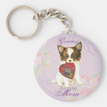 Papillon Heart Mom Keychain