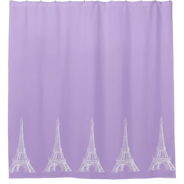paris eiffel tower lavender shower curtain zazzle com