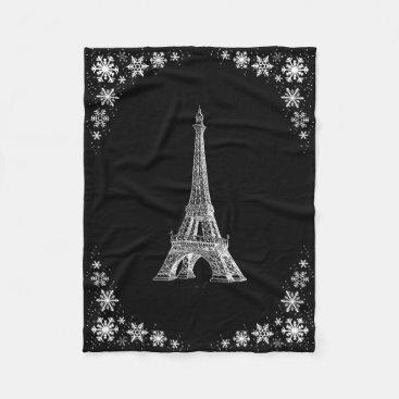 Paris Snow Black and White Fleece Blanket