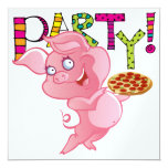 ❤️ Fun Pig With A Pizza Customizable Party Invitation