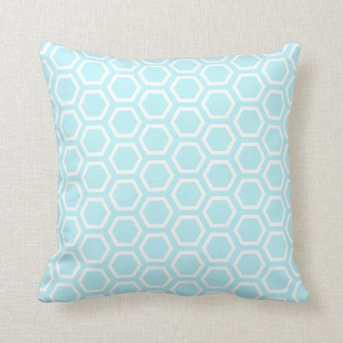 Pastel Aqua Honeycomb Pattern Throw Pillow