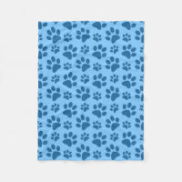 Pastel blue dog paw print pattern fleece blanket
