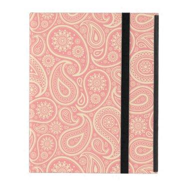 Pastel Pink And Beige Vintage Paisley iPad Folio Case