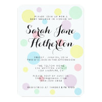 Pastel Polka Dots Baby Shower Invitations