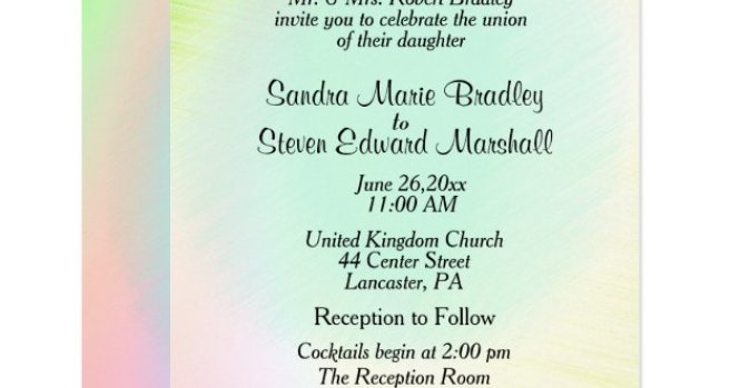 Pastel Rainbow Wedding Invitation With
