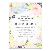 Pastel Spring Flowers Baby Shower Invitation