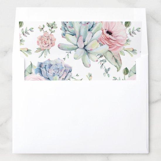 Pastel Succulent Watercolor Floral Envelope Liner