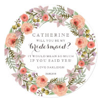 Pastel Wreath Will You Be My Bridesmaid Invitation