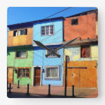PATCHWORK HOUSES SQUARE WALL CLOCK