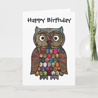 Patchwork Owl Birthday Card card