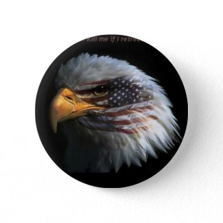 Patriotic Eagle with flag background button