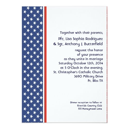 patriotic military stars and stripes wedding 55x75 paper invitation card - Military Wedding Invitations