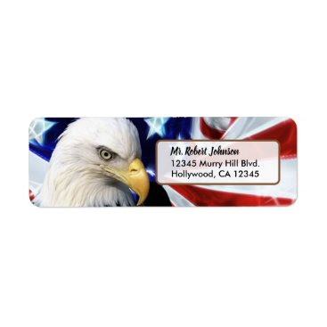 Patriotic United States Bald Eagle Label