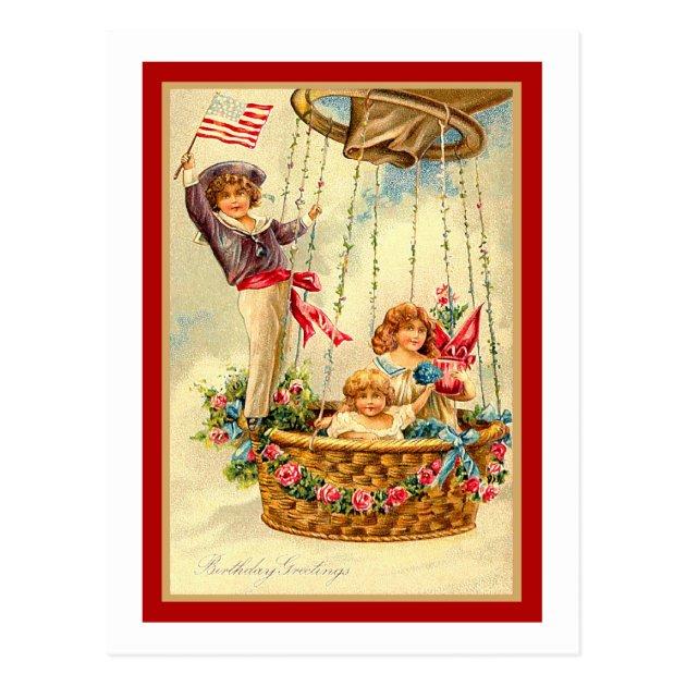 Patriotic Vintage Birthday Greetings Postcard