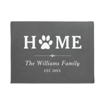 Paw Print Home - Chalkboard - Family Name Doormat