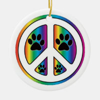 Paw print peace ceramic ornament