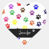 Paw print pet dog custom girls name fun stickers