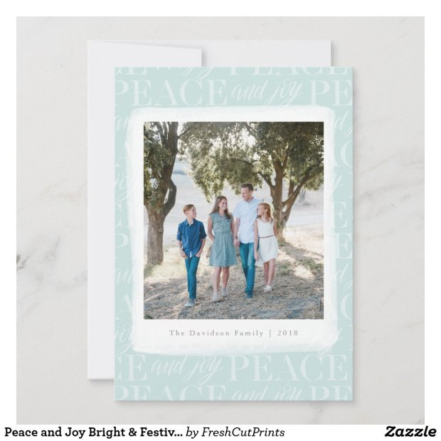 Peace and Joy Bright & Festive Photo Holiday Card