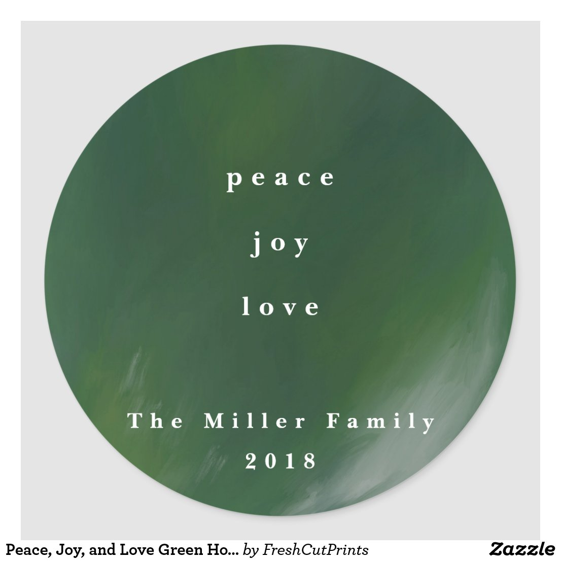 Peace, Joy, and Love Green Holiday Stickers