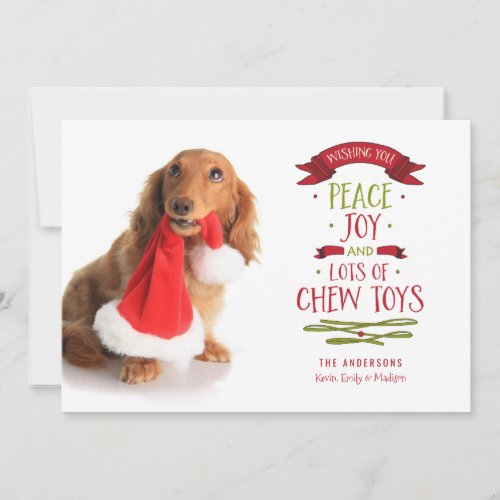 Peace Joy & Chew Toys Holiday Pet Dog Photo Card