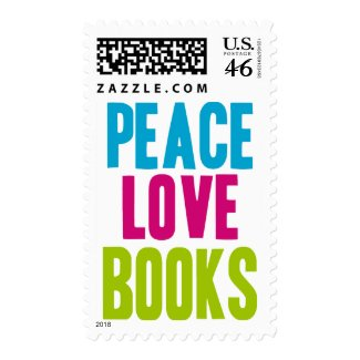 Peace Love Books stamp