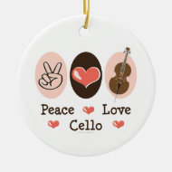 Peace Love Cello Ornament