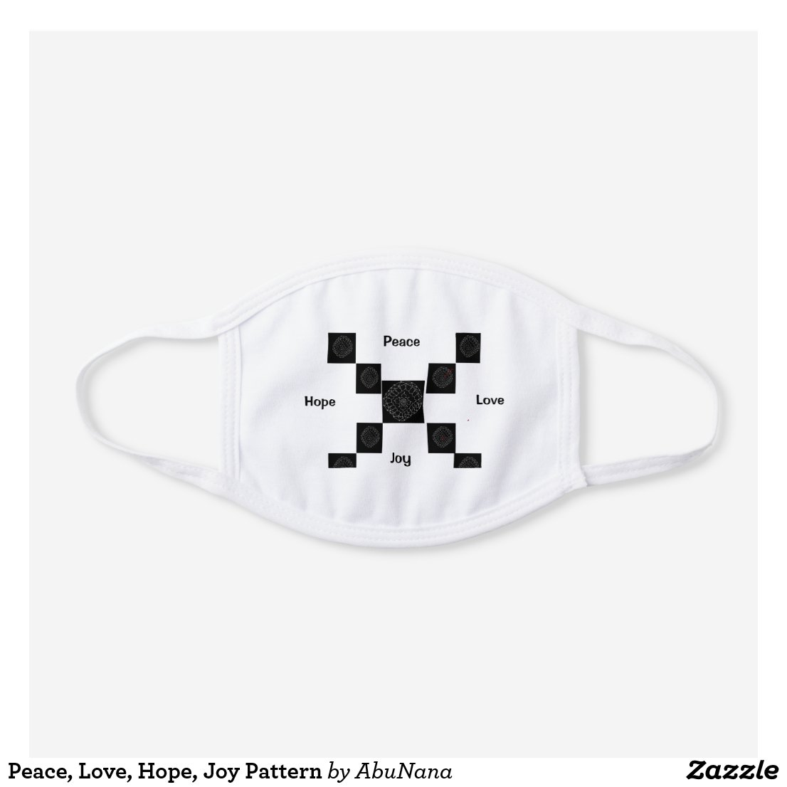 Peace, Love, Hope, Joy Pattern White Cotton Face Mask